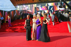 Daria Subbotina and Anna Gorshkova at Moscow Film Festival. Daria Subbotina (first at left), Anna Gorshkova (first at right) at XXXV Moscow International Film Stock Images