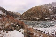 The Dariali Gorge and Terek river in winter in Georgia Royalty Free Stock Image