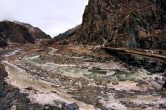 The Dariali Gorge and Terek river in winter in Georgia Stock Image
