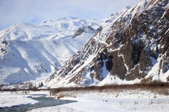 The Dariali Gorge in winter Stock Image