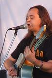 在节日的露天舞台是摇滚乐队的, Darida音乐家 库存照片