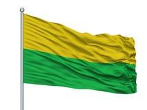 Darien City Flag On Flagpole, Colombie, Valle Del Cauca Department, d'isolement sur le fond blanc illustration de vecteur