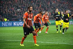 Dario Srna in action on the match Shakhtar - Borussia Royalty Free Stock Photography