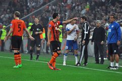 Dario Srna arguing with coach of Dnipro Stock Images