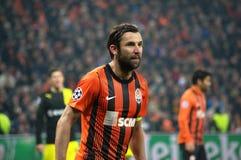 Dario Srna i handling på matchen Shakhtar - Borussia Arkivbild