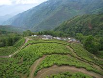 Darjeeling, ÍNDIA, o 15 de abril de 2011: Vista aérea do cabl fotos de stock