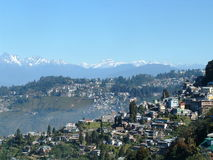 Darjeeling. A view of Darjeeling with the mountains in the background Stock Image