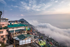 Darjeeling foggy day. View at Darjeeling from high vantage point at foggy day, India Royalty Free Stock Photography
