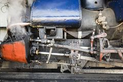 Darjeeling, India, March 3 2017: Closeup of the steam cylinder with valves. Of the famous Darjeeling steam train in India Stock Photos