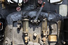 Darjeeling, India, March 3 2017: Closeup of the steam locomotive fire boiler Royalty Free Stock Images