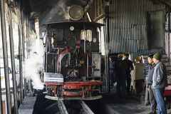 Darjeeling, India, March 3 2017: Prepare the steam locomotive for the drive. From Darjeeling to ghoom with the famous toy train Royalty Free Stock Photo