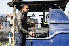 Darjeeling, India, March 3 2017: Prepare the steam locomotive for the drive. From Darjeeling to ghoom with the famous toy train Royalty Free Stock Image
