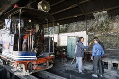 Darjeeling, India, March 3 2017: Prepare the steam locomotive for the journey Stock Photography