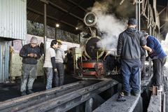 Darjeeling, India, March 3 2017: Repair of the famous mountain railway Stock Images