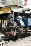 Darjeeling, India, March 3 2017: Shunting the steam locomotive. In the station of the famous toy train Royalty Free Stock Photos