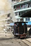 Darjeeling, India, March 3 2017: Shunting the steam locomotive. In the station of the famous toy train Royalty Free Stock Image