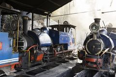 Darjeeling, India, March 3 2017: Steam locomotive in the train station Royalty Free Stock Photos