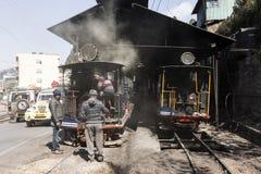 Darjeeling, India, March 3 2017: Steam locomotive in the train station. Of Darjeeling Royalty Free Stock Photo