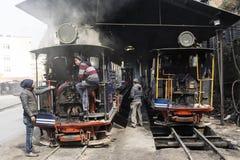 Darjeeling, India, March 3 2017: Steam locomotive in the train station Stock Photo