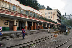 The Darjeeling station. The Darjeeling Himalayan Railway is a World Heritage Site also known as the Toy Train, is a 2 ft (610 mm) narrow gauge railway that runs Stock Images