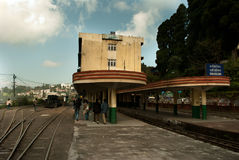 The Darjeeling station. The Darjeeling Himalayan Railway is a World Heritage Site also known as the Toy Train, is a 2 ft (610 mm) narrow gauge railway that runs Stock Photo