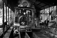 The Darjeeling Toy Train. The Darjeeling Himalayan Railway or toy train at the workshop for maintenance. Toy train is a World Heritage Site also known as the Toy Stock Photos
