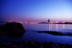 Night view of sea Stock Photos