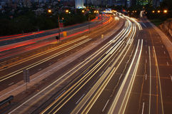 After Dark. Cars traveling on a motorway at night stock photo