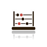 Dark abacus icon. Abacus icon with shade on a clear background Stock Image