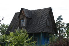 Dark abandoned house. Looks like the abode of a witch, where she commits atrocities royalty free stock images