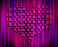 Dark Abstract 3D Heart. Dark purple striped background with 3D heart shape rising from the center vector illustration