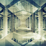 Dark abstract architecture 3d background. Concrete interior Royalty Free Stock Image