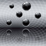 Dark abstract background. With black glass balls and theirs reflection royalty free illustration