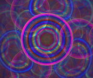 Dark abstract background with circles of different colors. Texture. Rainbow shutter in the center, fractal pattern vector illustration