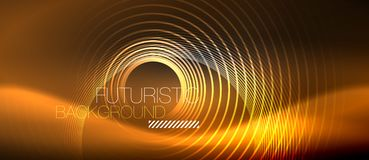 Dark abstract background with glowing neon circles. Vector stock illustration