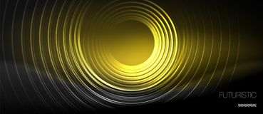 Dark abstract background with glowing neon circles. Vector vector illustration