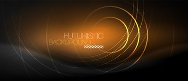 Dark abstract background with glowing neon circles. Vector royalty free illustration