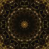 Dark abstract background, gold kaleidoscope light. Gold kaleidoscope light, dark abstract background Stock Photography