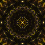Dark abstract background, gold kaleidoscope light. Gold kaleidoscope light, dark abstract background Royalty Free Stock Photography