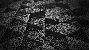 Dark Abstract Background Pixel Art 3D Illustration. Pixel Art Black Metal Surface 3D Rendering Stock Images
