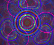 Dark abstract background with rainbow bubbles texture. Circles o. F different colors are floating in the air, fractal pattern royalty free illustration