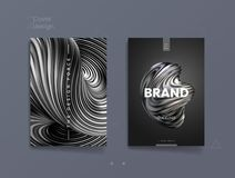 Dark abstract cover template with 3d silver twisted shape, can be used for luxury cosmetic brand, finance journal and. Brandbook design. Vector illustration stock illustration