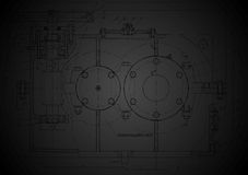 Dark abstract engineering drawing Stock Image