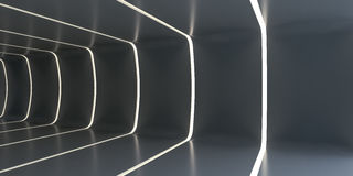 Dark abstract futuristic tunnel. Light strips divide the room. 3d rendering. Empty room vector illustration
