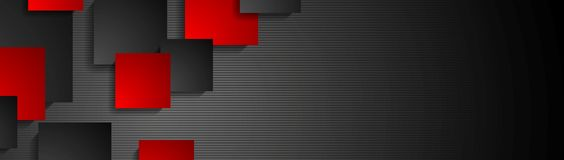 Dark abstract geometric banner design. Technology vector web header background Stock Photos