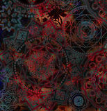 Dark abstract geometrical pattern with floral elements Stock Photos
