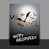 Halloween Flyer or Cover Design with Lots of Flying Bats Over the Night Field in the Darkness Under the Starry Sky -. Dark Abstract Halloween Card, Flyer, Book Stock Image
