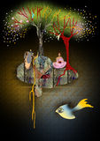 Dark abstract illustration, fish with a human eye. Floating in water, woman in pink sitting on an island, trees with floating leaves growing on an island, red Stock Photo