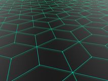 Dark abstract polygonal background with pale blue outline Stock Image