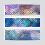 Dark abstract triangular blurred banners set with Royalty Free Stock Photo